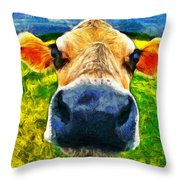 Funnycow Throw Pillow