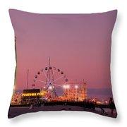Funtown Pier At Sunset IIi - Jersey Shore Throw Pillow by Angie Tirado