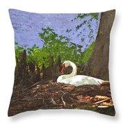 Furman University Swan Throw Pillow