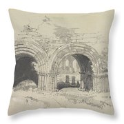 Furness Abbey East  29 August 1836 By Edward Lear  1836 Throw Pillow