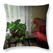 Furniture - Plant - Ivy In A Window  Throw Pillow by Mike Savad