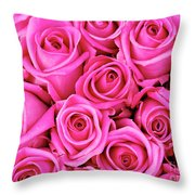 Fuschia Colored Roses Throw Pillow