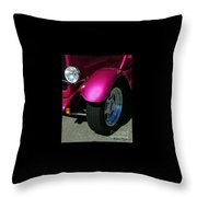 Fuschia Hot Rod Wheel  Throw Pillow
