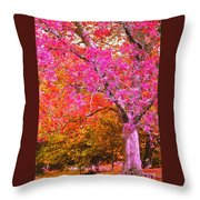 Fuschia Tree Throw Pillow