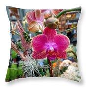 Fushia Orchid Throw Pillow