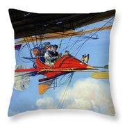 Futuristic Air Travel Vintage Poster Throw Pillow