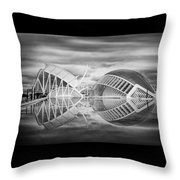 Futuristic Architecture Of Modern Valencia Spain In Black And Wh Throw Pillow