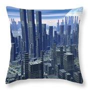Futuristic City - 3d Render Throw Pillow