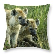 Fuzzy Baby Hyenas Throw Pillow