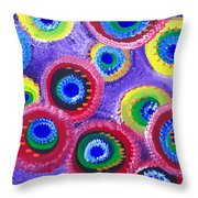 Fuzzy Purple Circles Throw Pillow