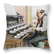 G. Cleveland Cartoon, 1893 Throw Pillow