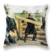 G. Cleveland Cartoon, 1895 Throw Pillow