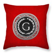 G - Silver Vintage Monogram On Red Leather Throw Pillow