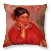 Gabrielle In A Red Blouse 1896 Throw Pillow