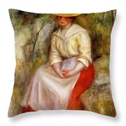 Gabrielle In A Straw Hat 1900 Throw Pillow
