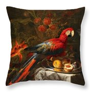 Gabriello Salci  Fruit Still Life With A Parrot Throw Pillow