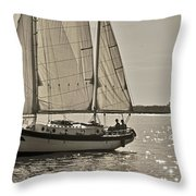 Gaff Rigged Ketch Cutter Sailing The Charleston Harbor Throw Pillow