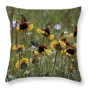 Gaillardia/blanket Flower Butterflies Throw Pillow by Roger Snyder