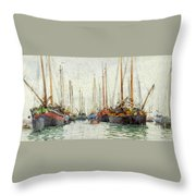 Gaily Coloured Fishing Vessels Throw Pillow