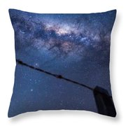Galactic Kiwi On A Barbed Wire Throw Pillow