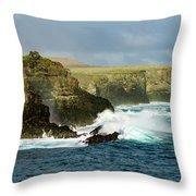 Cliffs At Suarez Point, Espanola Island Of The Galapagos Islands Throw Pillow