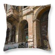 Galata Street Scene Throw Pillow