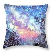 Galaxy Spring Night Watercolor Throw Pillow