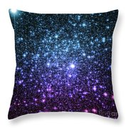 Galaxy Stars Teal Violet Pink Throw Pillow