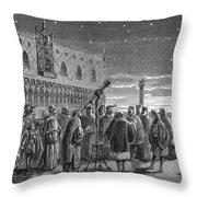 Galileo Demonstrates Telescope, 1609 Throw Pillow