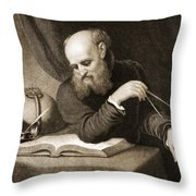 Galileo With Compass And Diagrams Throw Pillow