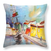 Gallion In Vila Do Conde Throw Pillow