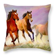Galloping Horses Throw Pillow