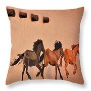 Galloping Horses Mural - Taos Throw Pillow