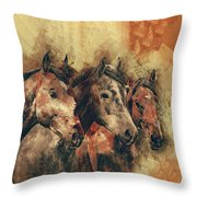 Galloping Wild Mustang Horses Throw Pillow