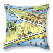 Galveston Texas Cartoon Map Throw Pillow