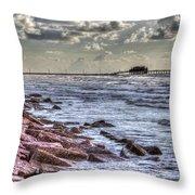 Galveston's Piers Throw Pillow