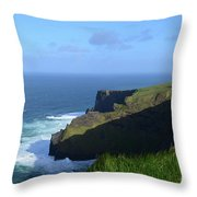 Galway Bay Churning Below The Cliffs Of Moher Throw Pillow