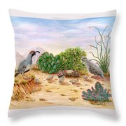 Gambel Quails Day In The Life Throw Pillow