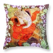 Ganesh In Dancing Pose With Floral Backdrop. Throw Pillow