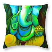 Ganesh In Garden Throw Pillow