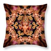 Ganesh Sphere Mandala Throw Pillow