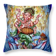 Ganesha Dancing And Playing Mridang Throw Pillow