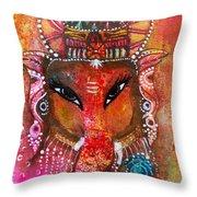 Ganesha Throw Pillow by Prerna Poojara