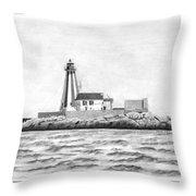 Gannet Rock Lighthouse Throw Pillow