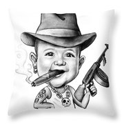 Ganster Child Caricature Throw Pillow