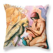 Ganymede And Zeus Throw Pillow by Rene Capone