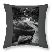 Gapstow Bridge In Central Park - Bw Throw Pillow