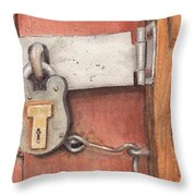 Garage Lock Number Four Throw Pillow
