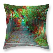 Garden Alley - Use Red-cyan 3d Glasses Throw Pillow