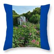 Old Garden Beach Flowers Throw Pillow